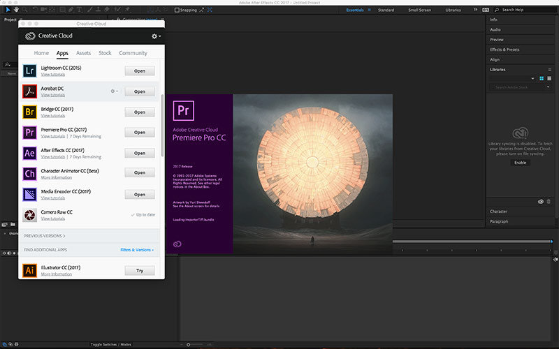 creative cloud with premiere cc 2017
