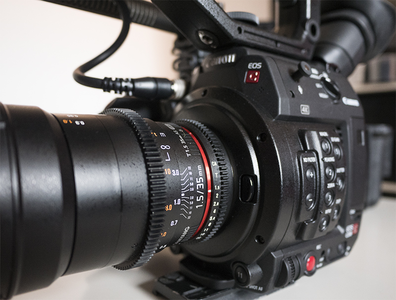 Samyang 50mm Cine Lens on the Canon C100 camera