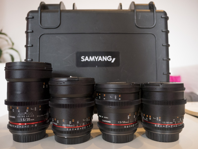 A selection of Samyang Cine Lenses