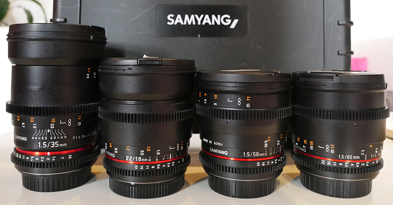 Samyang Cine Leses all have same focus height