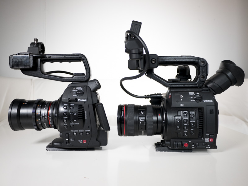 Canon C200 and C100 side by side
