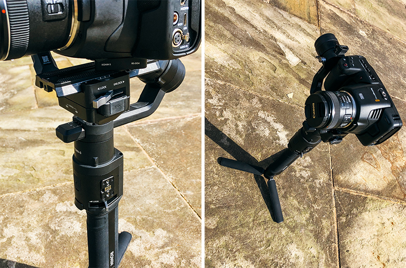dypthic showing the |Blackmagic Pocket Cinema Camera 6K on top of the Ronin-S