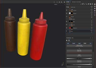 3D modelling process making condimaent bottles for motion graphics project