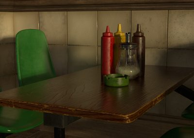 3D model of a table in a greasy spoon cafe