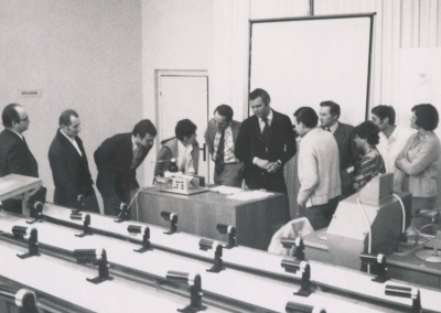 Vintage Photo of Scientists discussing Chromatography
